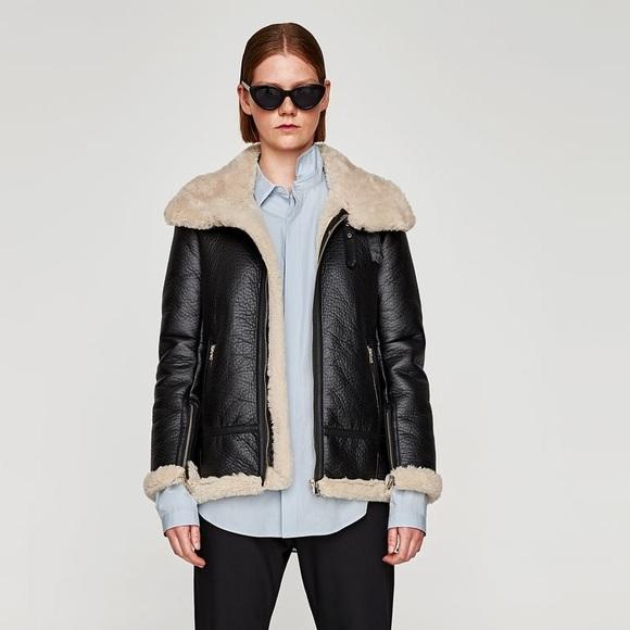 715fe6fb3cd8 SOLD OUT Zara Aviator Jacket in Black. Womens M